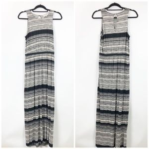 LOFT Black Ivory Striped Sleeveless Maxi Dress